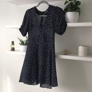 Realisation Par Ozzie Navy Star 100% SILK Dress XS